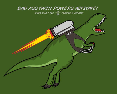Shape of: a T-Rex. Form of: a Jetpack