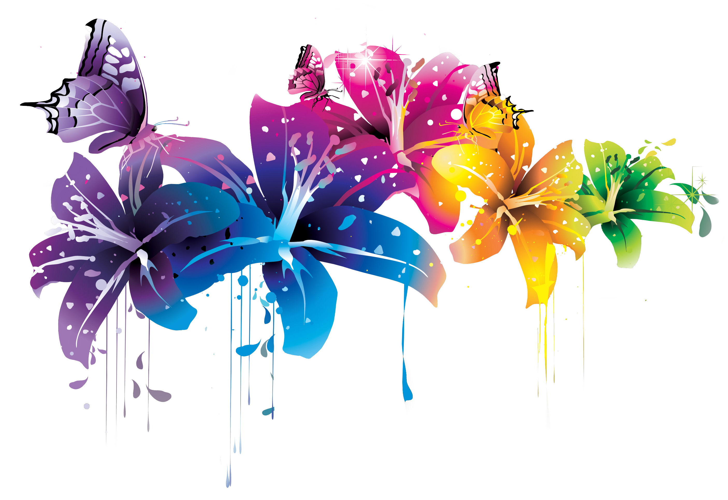 ++ Colorful Flower Vector Clipart PNG by BrielleFantasy on ... Colorful Flowers Clipart