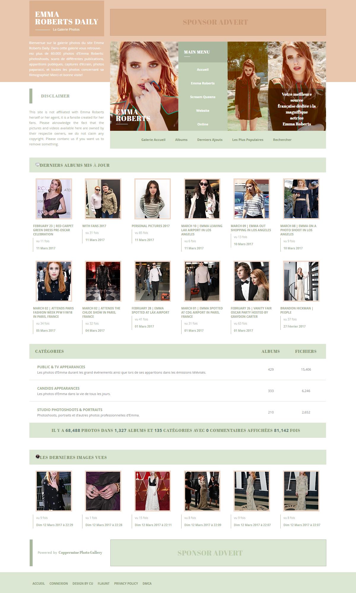 Emma Roberts Daily | Coppermine Gallery Theme by BrielleFantasy