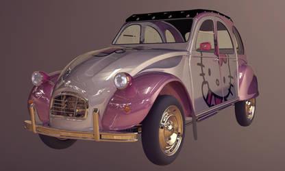 Hello Kitty 2CV by volantK