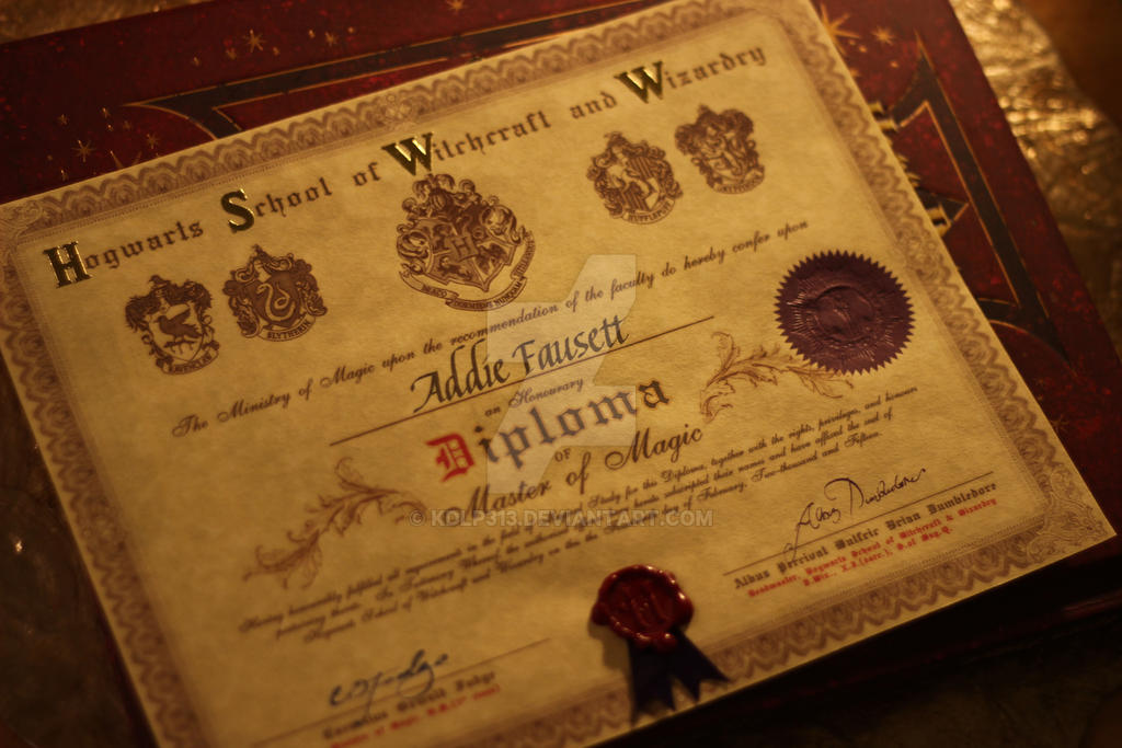 Hogwarts diploma by kdlp313 on deviantart for Hogwarts diploma