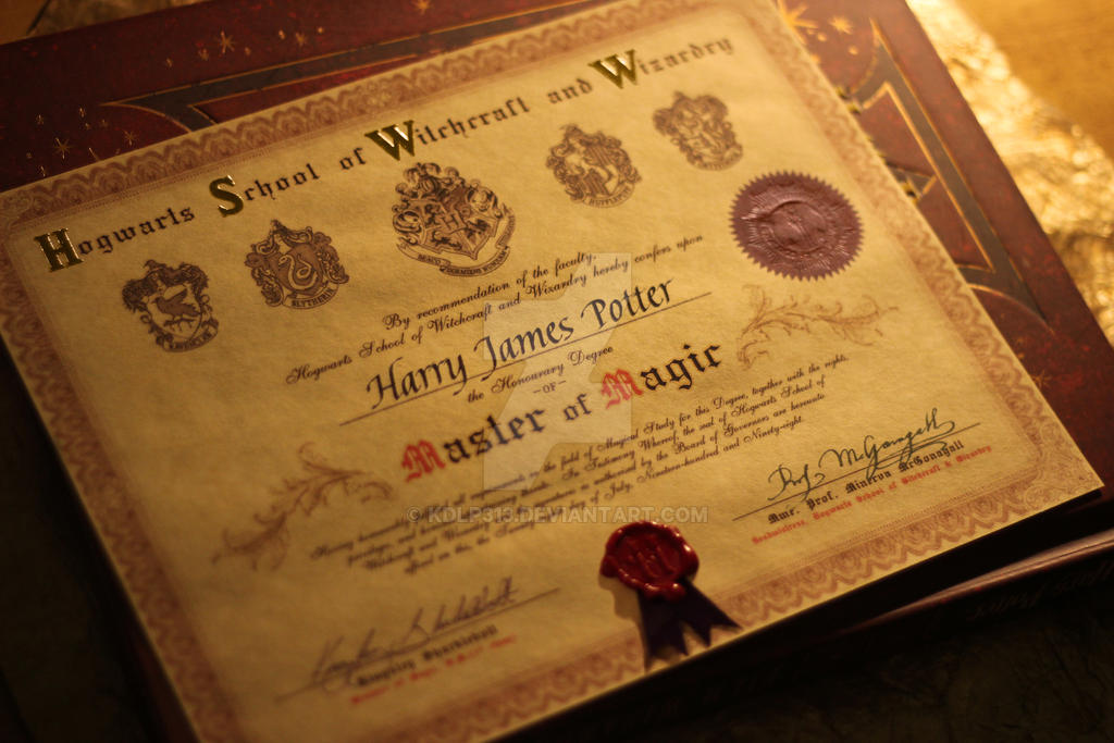 Hogwarts certificate by kdlp313 on deviantart for Hogwarts certificate