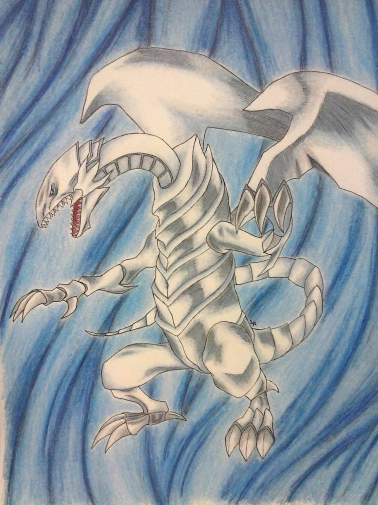 Blue Eyes White Dragon - Full Color by brietta-a-m-f