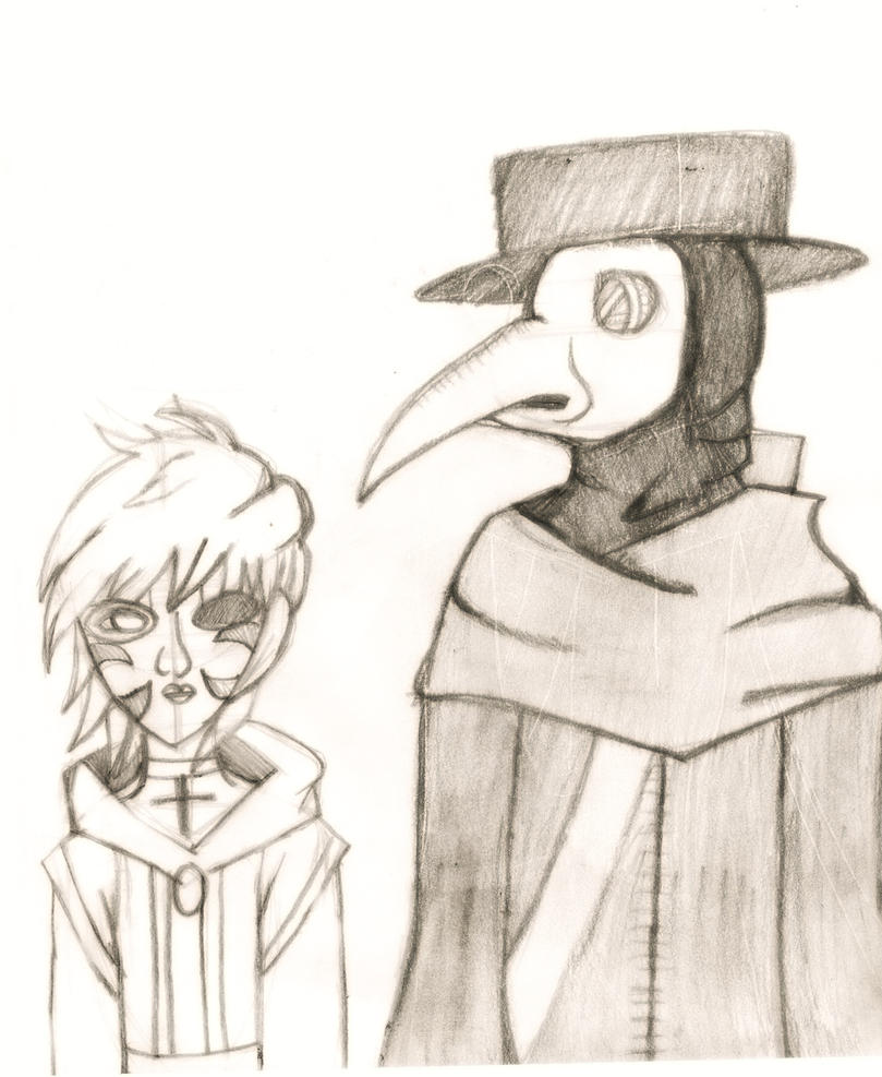 Red ink and plague doctor[Art Trade] by mellaly