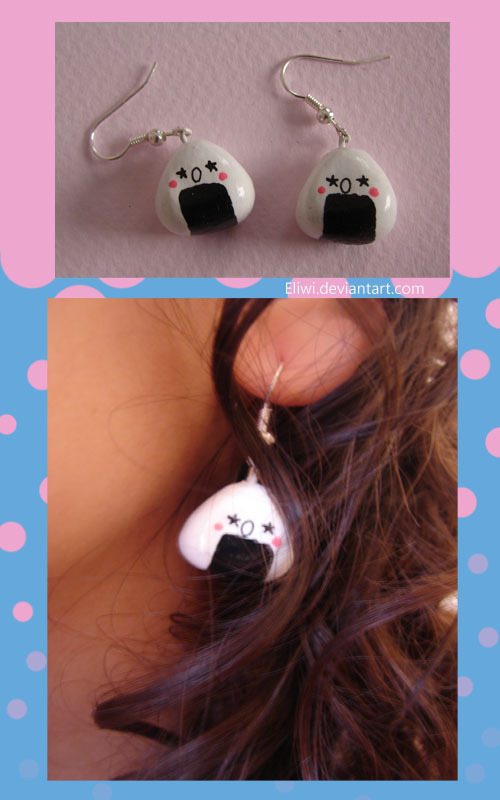 Onigiri Earrings Comission by Eliwi