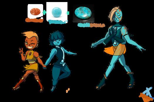 Sunstone And Turquoise Fusion (Chrysocolla)