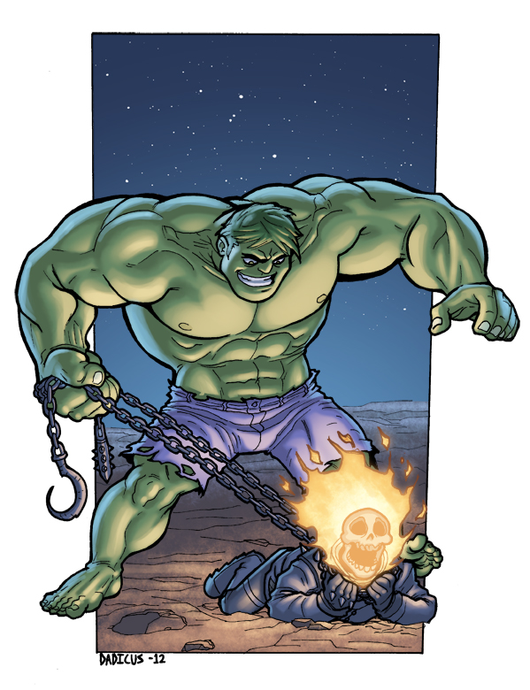 Hulk V.S. Ghost Rider by dadicus