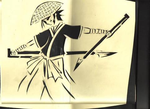 stencil sheet samurai art