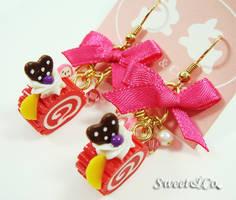 Ribbon Red Swiss Roll Earrings by SweetandCo