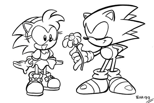 sonic amy swimming coloring pages | Sonic and Amy by TheEvaFAN on DeviantArt