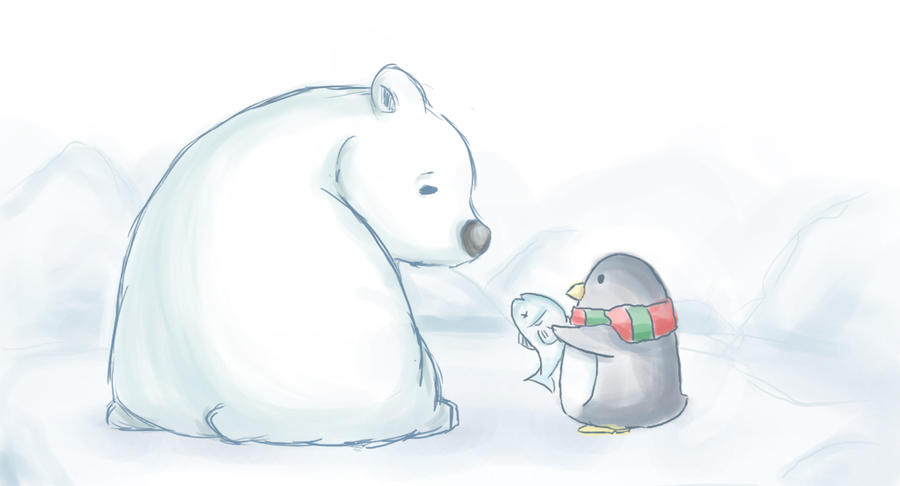 Art print of penguin giving a fish to a polar bear