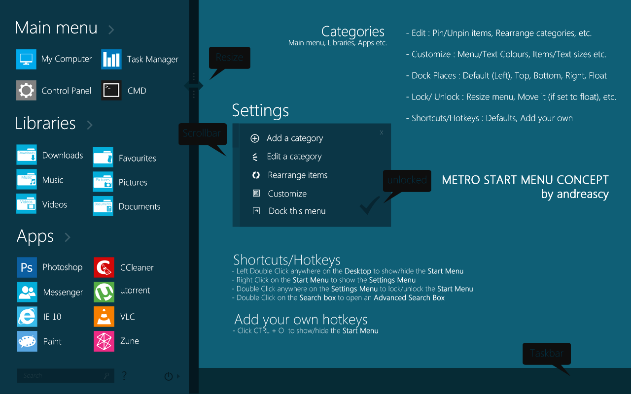 Windows 8 Metro Start Menu Concept by andreascy