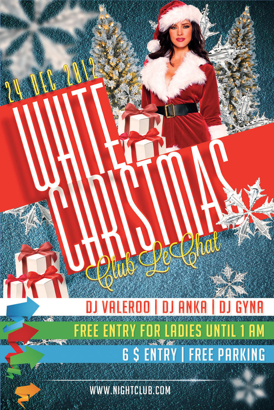 Free psd flyer white christmas party flyer by dianaghiba on deviantart for Christmas flyers psd