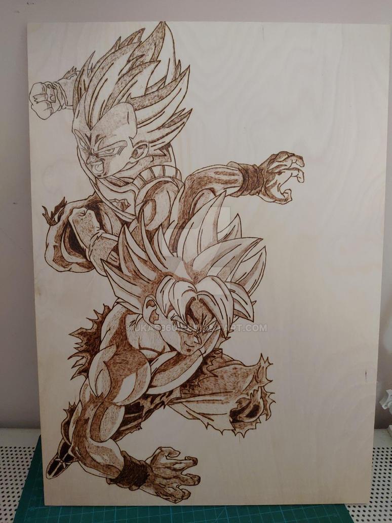 Goku x Vegeta pyrography by ukas360