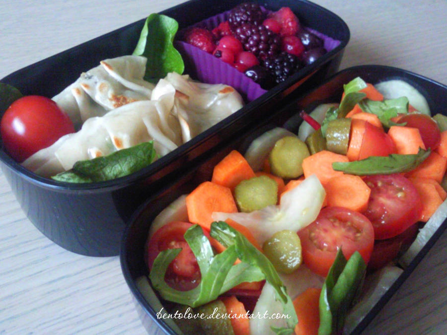 shrimp gyoza bento by BentoLove