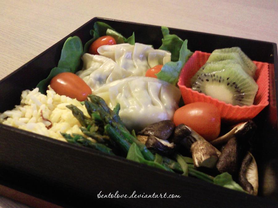 gyoza 'n aspargus bento by BentoLove