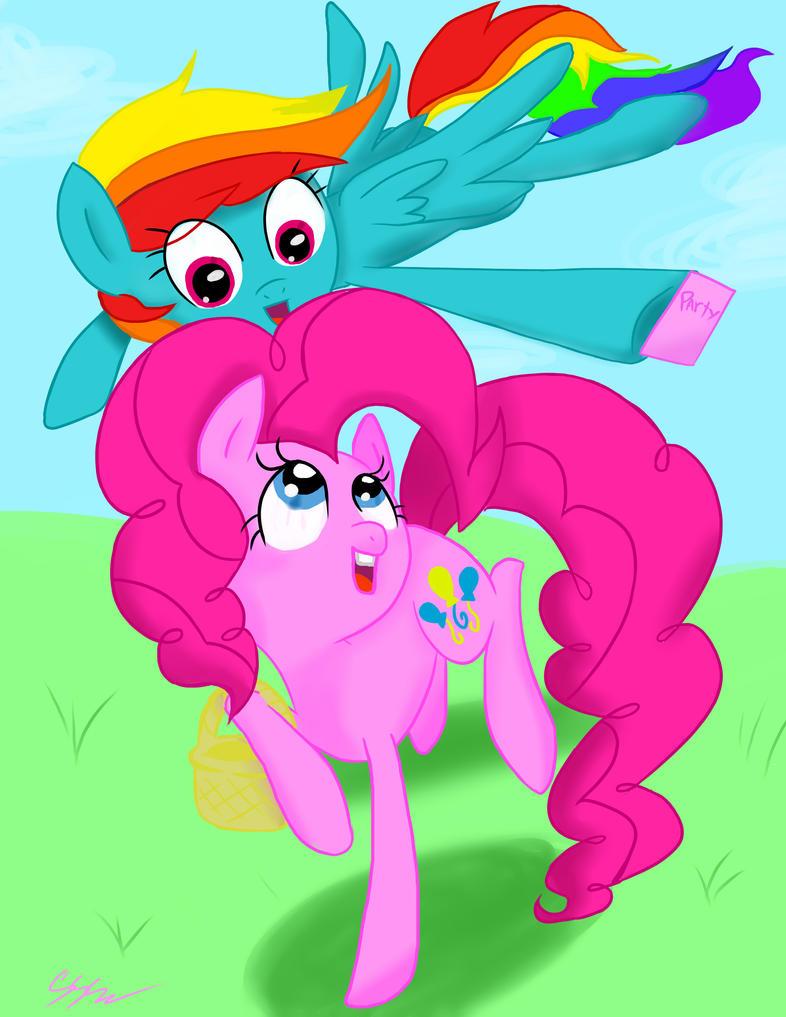 Pinkie And Rainbow by RikoriStorm