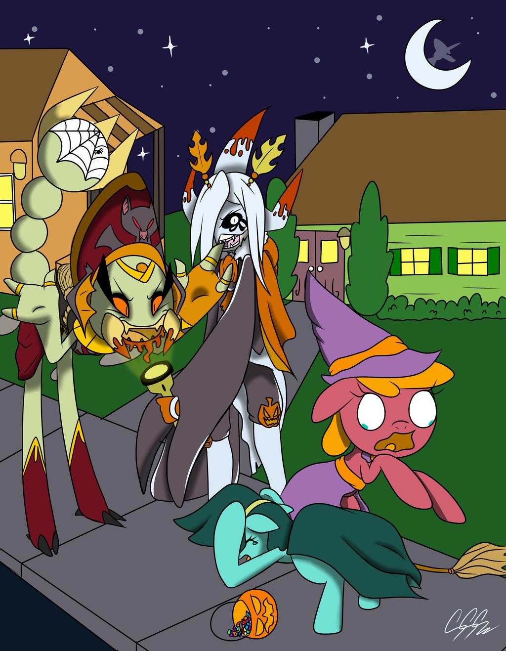 Spooping Ponies by RikoriStorm