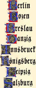 Town Names (Gothic Capitals / Fraktur Minuscules)