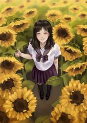 Girl among sunfloweers by PhoenixMyron