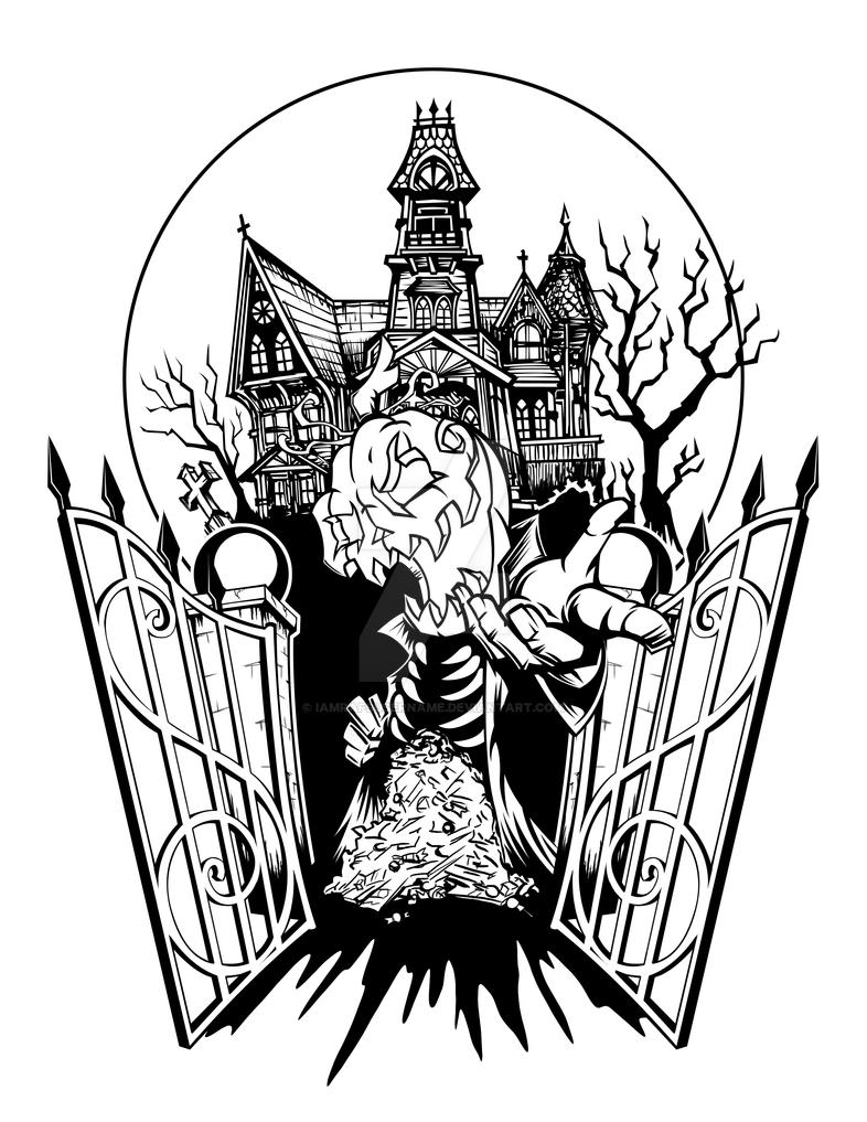 spooky house halloween tattoo by iamrafsusername on deviantart. Black Bedroom Furniture Sets. Home Design Ideas
