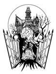 Spooky House Halloween Tattoo