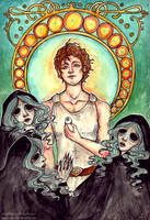 Perseus And The Graeae by Aya-Lunar