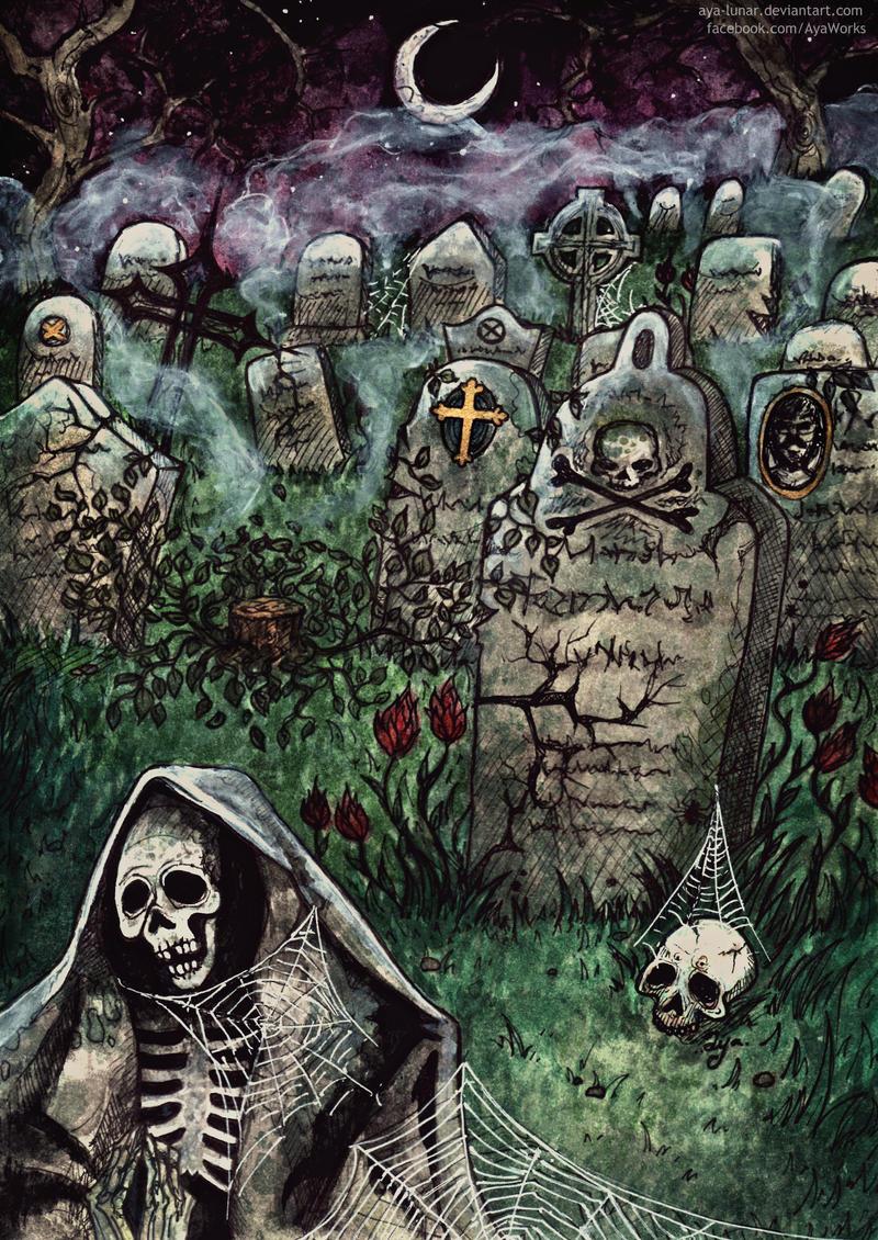 Quiet Cemetery nights by Aya-Lunar