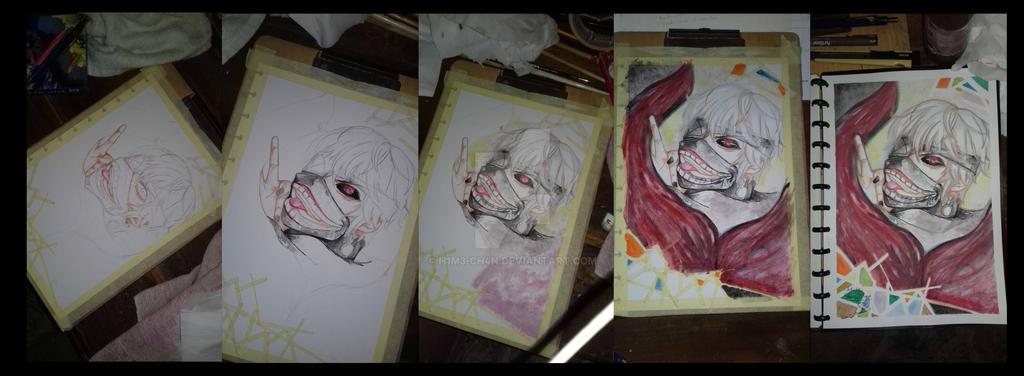 Kaneki ken step by step coloring by H1m3-Ch4n