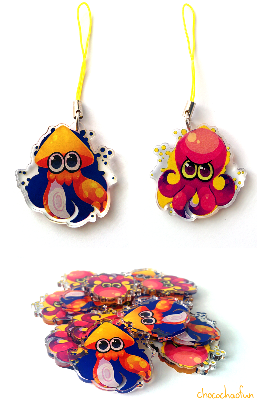 Splatoon Charms - Inkling and Octoling by ChocoChaoFun