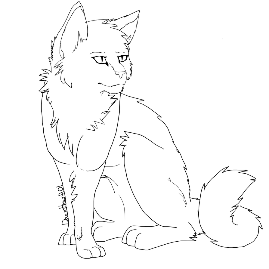 Xfig Line Drawing : Free semi realism cat lineart by dawnheart on deviantart