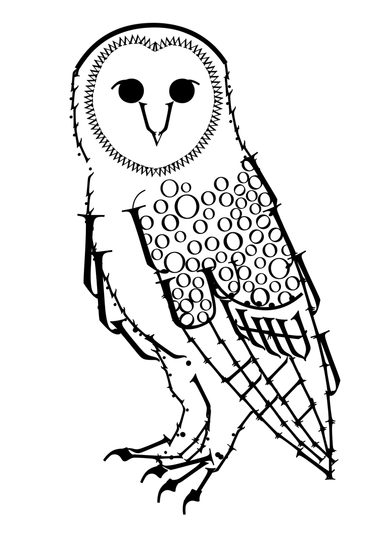 Typography barn owl by eleanortopsie on deviantart for Barn owl coloring pages