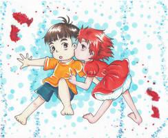 Ponyo and Sosuke by Yang-Mei