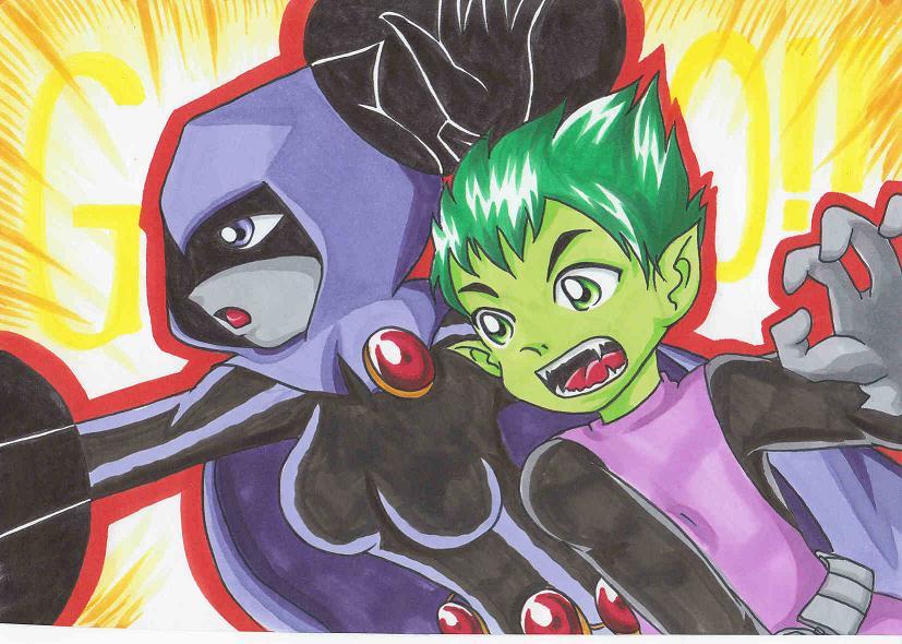 Raven and Beast Boy by Yang-Mei