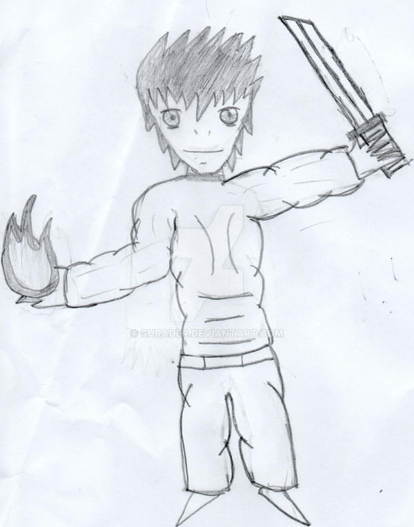 Man Holding Fireball And Sword By Shrader
