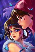 Ashitaka and San by gabrielleandhita