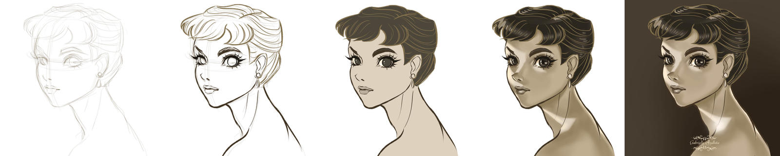 Step-by-step of Audrey Hepburn's drawing by gabrielleandhita