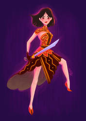 Mulan in her Nias inspired traditional clothing