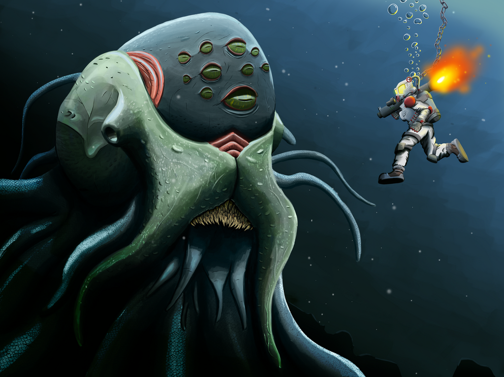 Diver And Kraken by vga-input