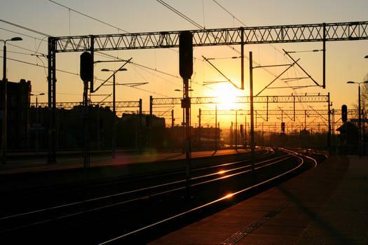 beautiful sunset at the railway station- Katowice