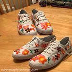 Painted Shoes Commission: Colored Daisies by Cyber-murph