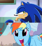 Rainbow dash excited for sonic.
