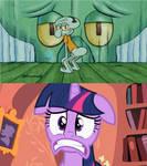 Twilight scared for squidward twerk.