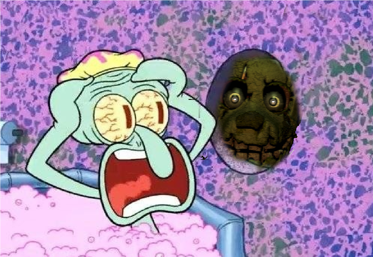 Springtrap scares squidward by brandonale on deviantart