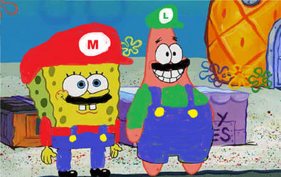 Spongebob and Patrick As Mario and Luigi