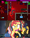 Sunset Shimmer Playing Hotline Miami 2.