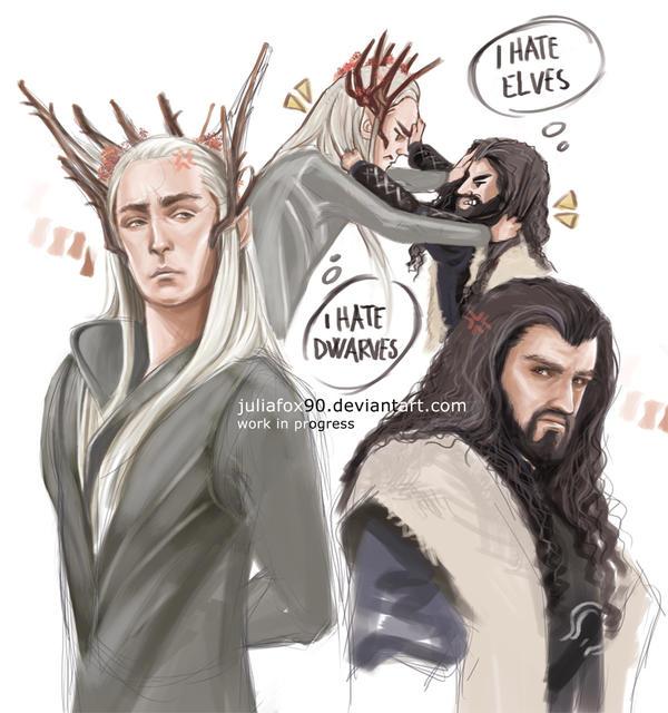 Thranduil vs Thorin - wip - by JuliaFox90