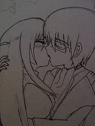 Keima and Haqua Kissing by Seitokain