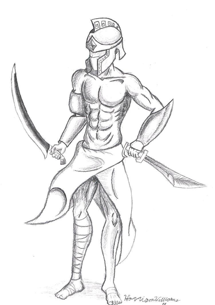 how to draw easy gladiators