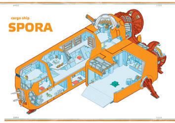 SPORA - Cargo Ship Cutaway by Araknophobia
